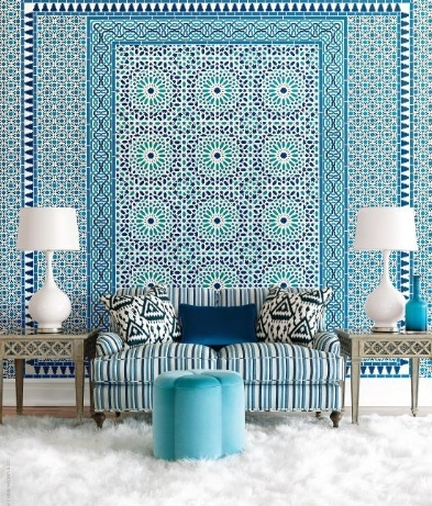 Turquoise, peacock and navy blue wallpaper. Gorgeous.Decor, Blue Interiors, Pattern, Moroccan Interiors, Livingroom, Colors, Living Room, Interiors Design, Moroccan Style