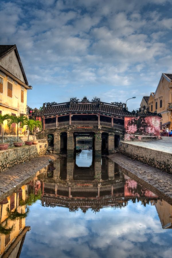Hoian, #Vietnam. Legend has it that there is a dragon energy land with the tail in Japan, the back in Vietnam and head in India. That's why the Japanese build the bridge to dampened the dragon from causing natural devastation.