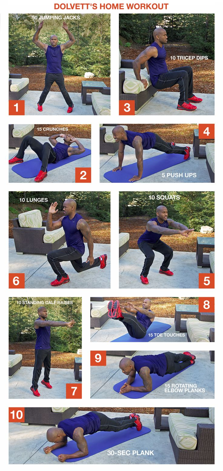 Skip the gym and try Dolvett's at-home workout! Learn all the motions for each individual exercise step-by-step and put them together for a quick, low maintenance workout anywhere. //  #BiggestLoser #DailyHomeWorkout