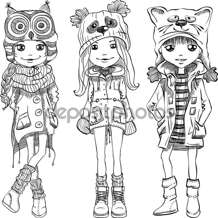 Векторный набор милые девушки в смешные шляпы — стоковая иллюстрация #95229066