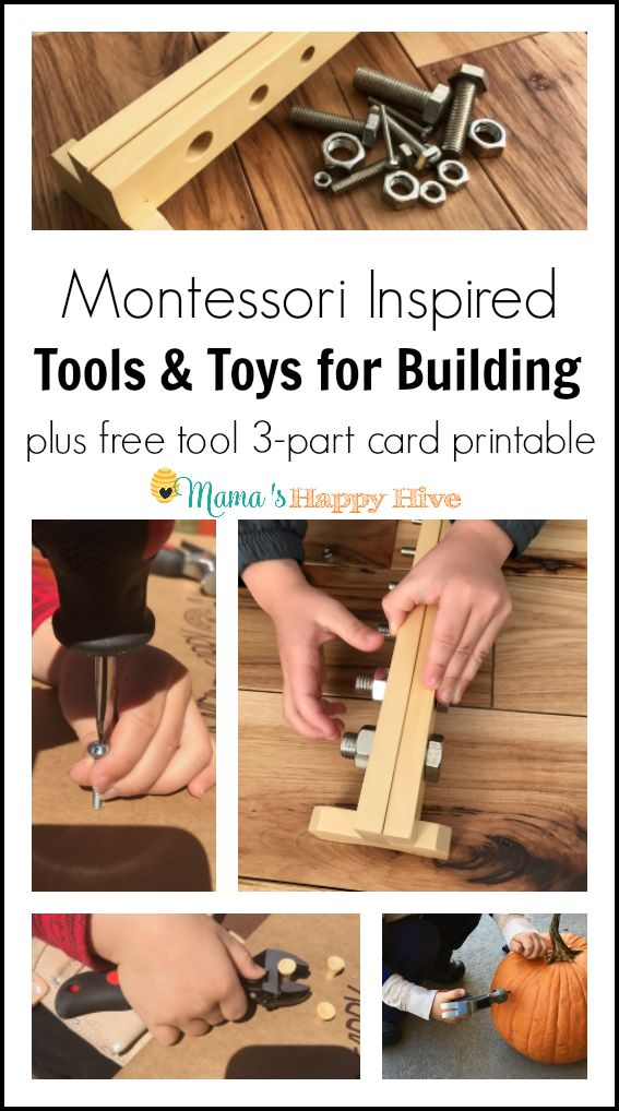 This collection of tools and toys for building includes real stubby tools, leather tool belt, DIY airplane model, and a Montessori nuts and bolts board. - www.mamashappyhive.com
