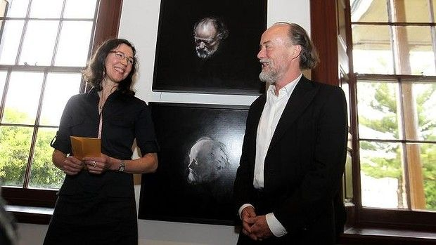 Partners in portraiture: Moran winner Louise Hearmann and her subject and partner Bill Henson. Two great Australian artists.