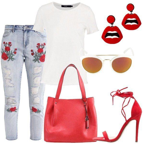 I jeans con strappi e fiori rossi ricamati hanno una vestibilità slim. La t-shirt è bianca, in cotone e a mezze maniche. Anche gli occhiali da sole con il ponte color oro sono bianchi. La borsa capiente in similpelle, è, invece, rossa come gli orecchini in metallo e plastica che rappresentano una bocca. I sandali con tacco a spillo sono anch'essi rossi ed hanno i lacci da avvolgere attorno alle caviglie.