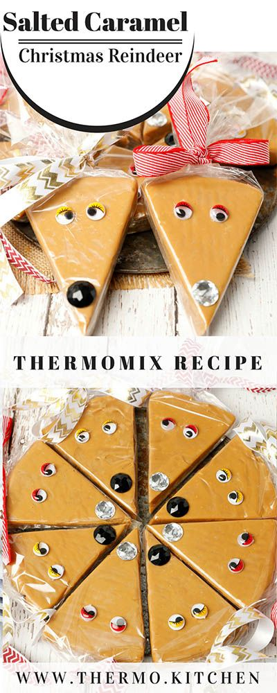 Salted Caramel Reindeer -Cutest Christmas kitchen gift ever! Easy, last minute gift Christmas gift idea. Salted caramel fudge is so easy to make & the finished gift is almost too delicious to giveaway! #ChristmasCooking #saltedcaramel #fudge #Thermomix #DIYChristmasgifts via @thermokitchen