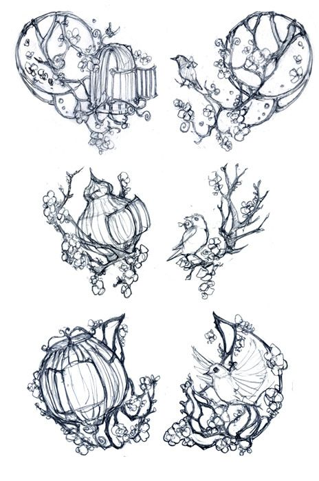 Art Nouveau Tattoo Designs | ... are the three sets of concept sketches that I drew for the design