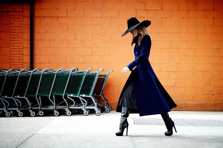 Hat and Coat: Fashion Style, Hat Coat Boots Style, Street, Outfit, Hats Inspirations, Fashion Photography, Blue Coats, Fashion Clothes Inspiration