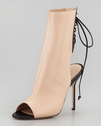 Bellantomod Lace-Back Leather Ankle Boots by Manolo Blahnik at Neiman Marcus.