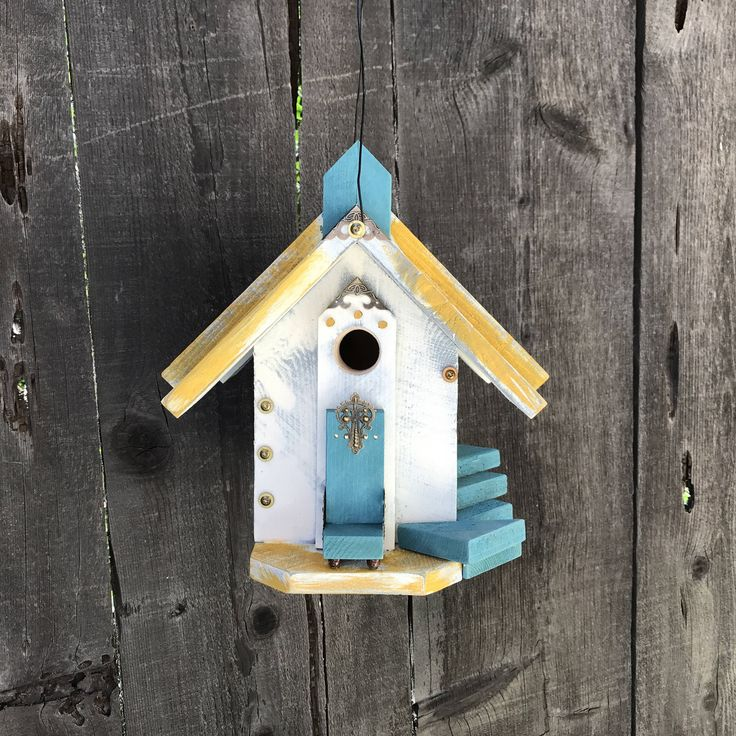 Unique Outdoor Birdhouse Functional Wooden Garden Birds Bird House,  Whimsical Handmade Hand Painted Primitive Birdhouses