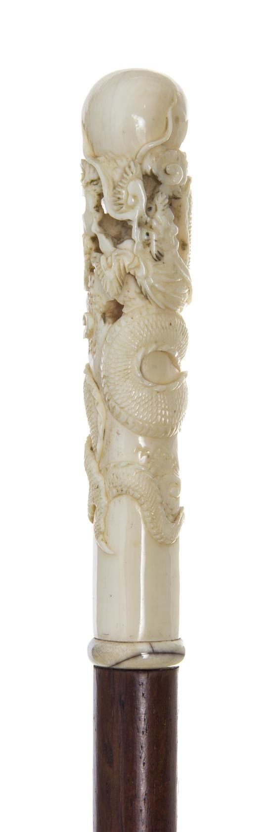 A Chinese Ivory Handled Walking Stick, Length of handle 4 1/2 x length over