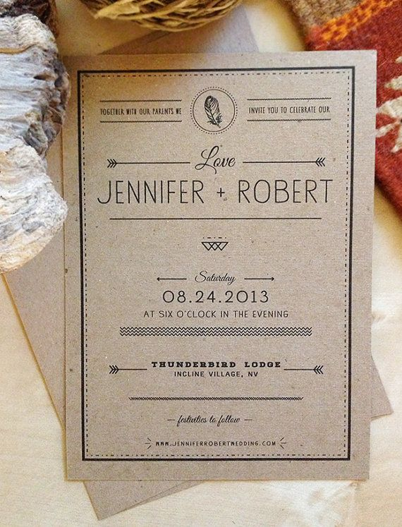 Rustic Kraft Paper Wedding Invitation - Boho Inspired - Eco Friendly