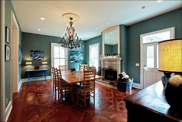 Parquet Cherry Floors 12 Foot Ceilings Dark Green Walls Dining Room Fireplace With Mirror