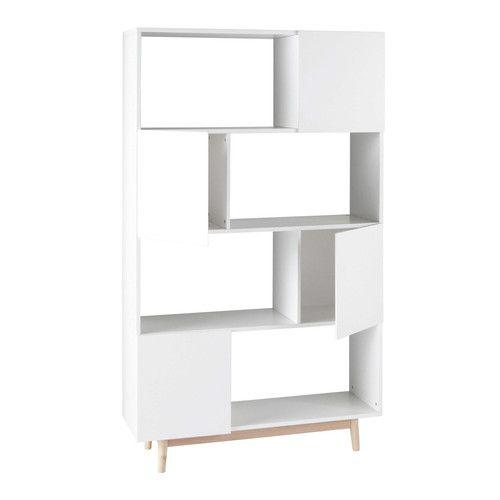 Witte houten vintage boekenkast L 110 cm - Artic