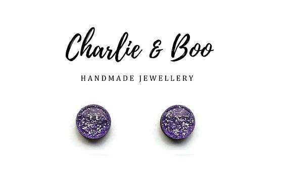 Lilac Glitter Stud Earrings 10mm With Resin Top Stainless
