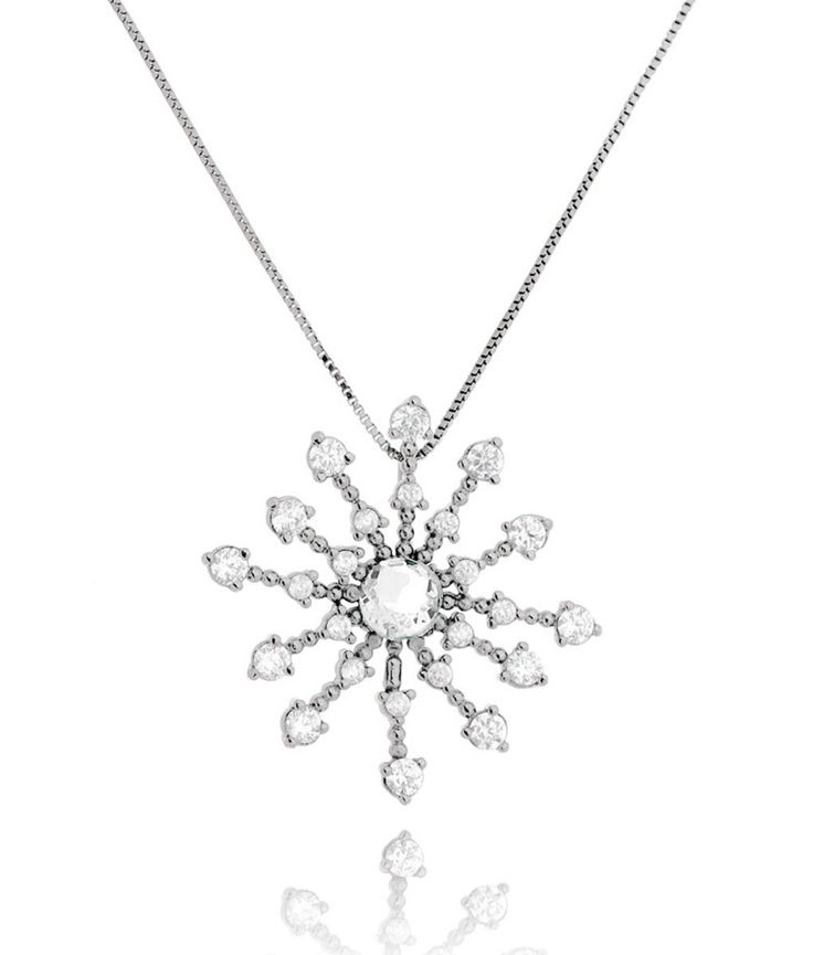 Colar mandala da moda banho de ródio zirconias cristais semi joias | Waufen