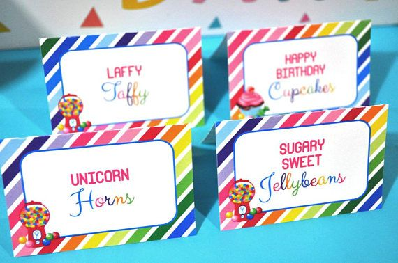 Candy Labels Food Tent Cards Buffet Labels Candy Sweet
