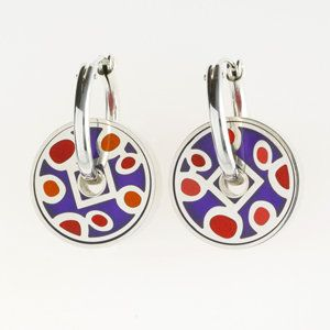 Red and Purple Pinwheel Earrings by Victoria Varga: Silver & Resin Earrings available at www.artfulhome.com