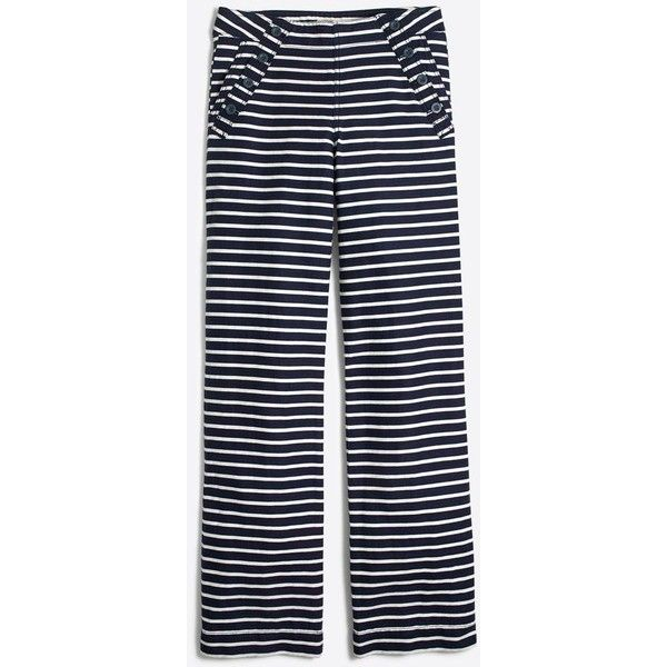 J.Crew Striped sailor pant ($51) ❤ liked on Polyvore featuring pants, j crew trousers, striped pants, j crew pants, stripe pants and sailor pants