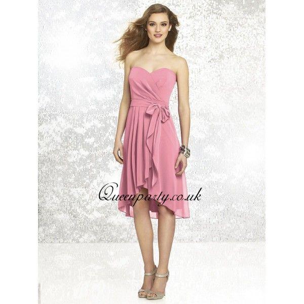 Carnation Silk Chiffon Short Bridesmaid Dress