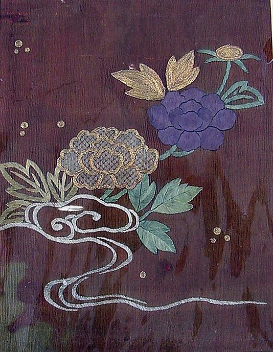 Piece from a Kosode with Peonies and Stream Period: Edo period (1615–1868) Culture: Japan Medium: Resist-dyed plain-weave silk crepe, embroidered with silk and metallic thread