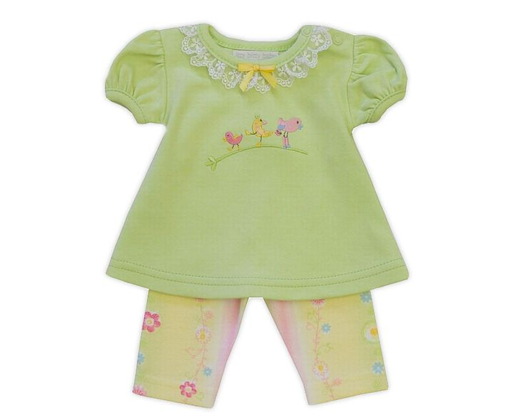 Swingtop in green with little birds embroidery, eyelet lace and pants set.