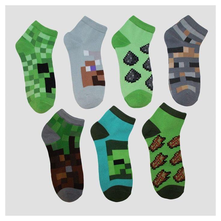 Imn Socks Child Male Casual Socks Disney Minecraft Green S/M, Kids Unisex