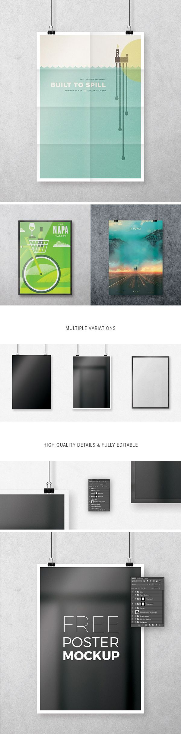 Showcase your posters, pictures, artwork or any other design with high resolution A4 Poster ‪PSD‬ ‎Mockup‬ ‎FREE‬ download. Have fun with it!