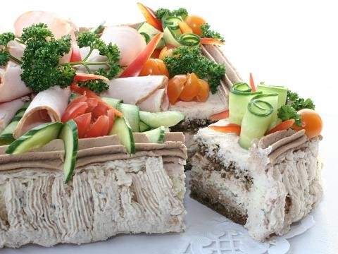 Sandwich cake with ham and meat