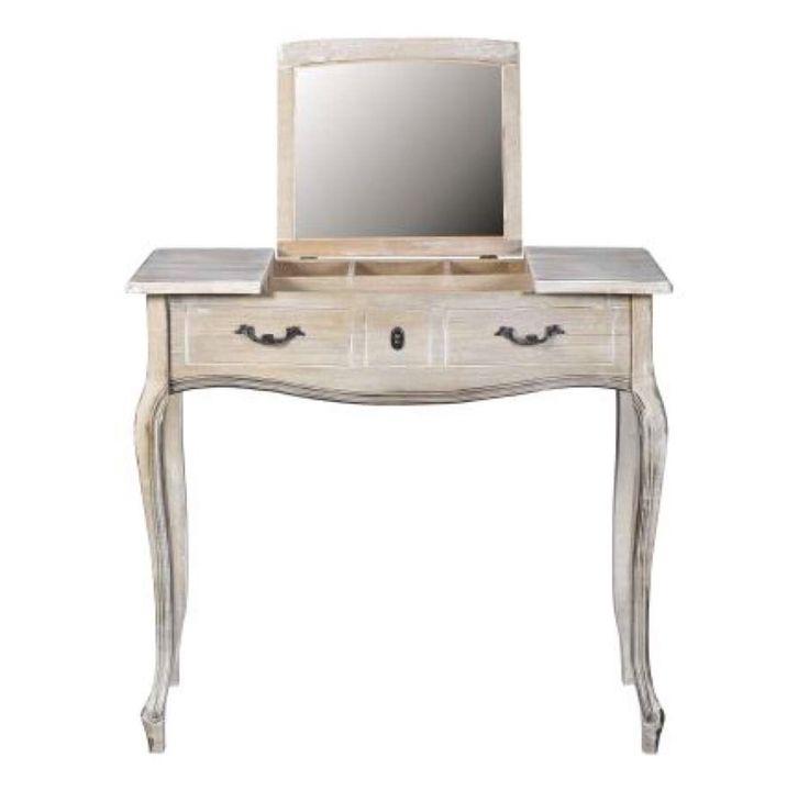 Kaptafel met neerklapbare spiegel waardoor een bureau ontstaat.