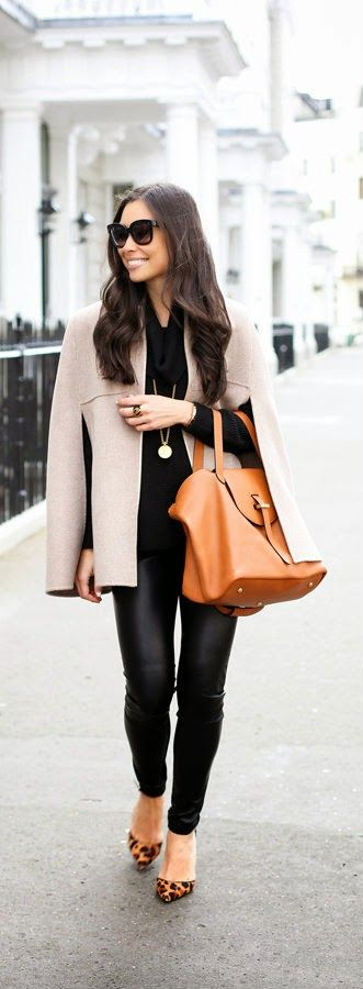 Camel Cape with faux leather leggings leopard pumps and meli melo bag in belgravia by With Love From Kat