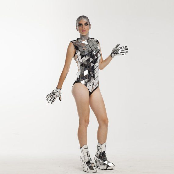 Cute one piece sequin mirror swimsuit costume / custom unique glitter metallic monokini bodysuit clo
