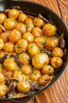 Roasted baby potatoes in a homemade mushroom cream sauce (use cashew heavy cream instead of dairy to veganize)