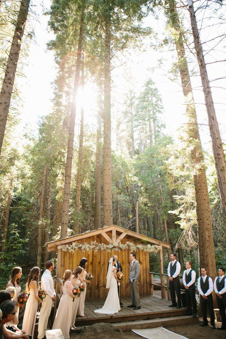 Woodland Ceremony - Yosemite Mountain Sugar Pine Railroad- Rustic forest Wedding- brentvanaukenphotography
