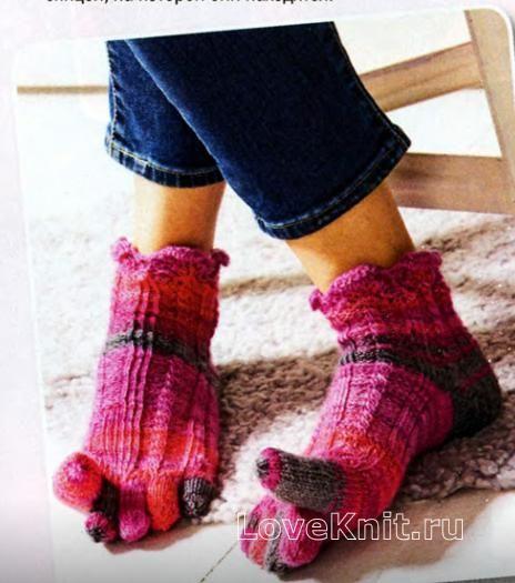Спицами короткие носки с пальчиками фото к описанию