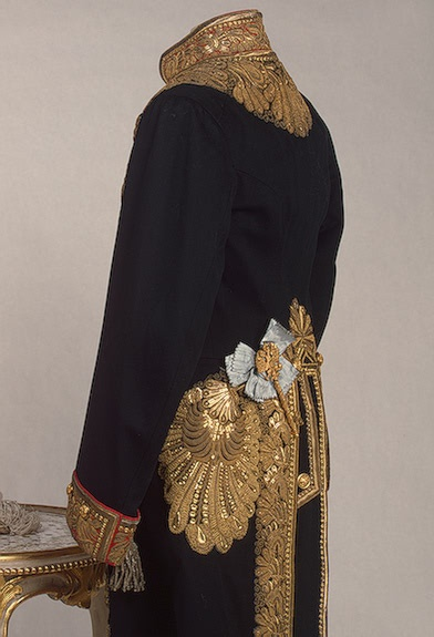 Left and partial side view of the Chief-Chamberlain's uniform, circa late 19th to early 20th Century.