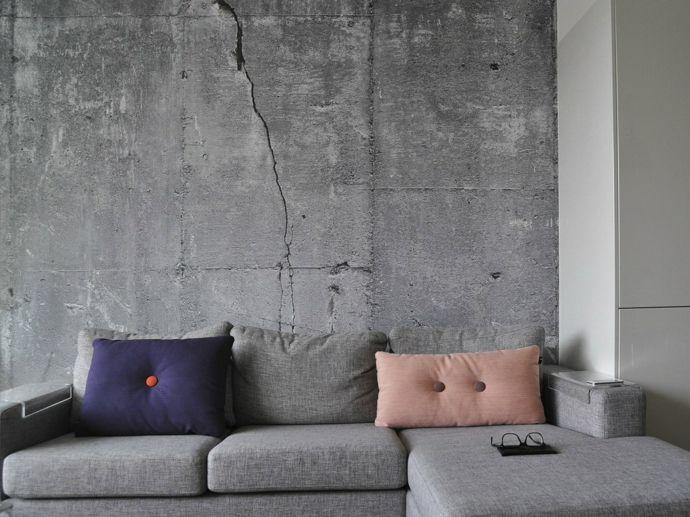 Lovely Wohnzimmer Sofa Tapeten in Betonoptik