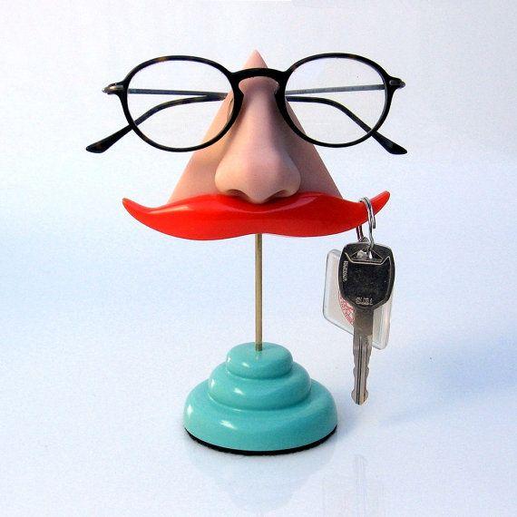 Nose Eyeglasses Stand organizer Ginger Mustache Key by ArtAkimbo, $40.00