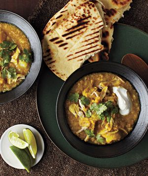 Slow-Cooker Curried Lentils With Chicken and Potatoes. Less than 500 Calories per serving.  Cooks for 7-9 hours in the slow cooker on low with 15-20 minutes prep.