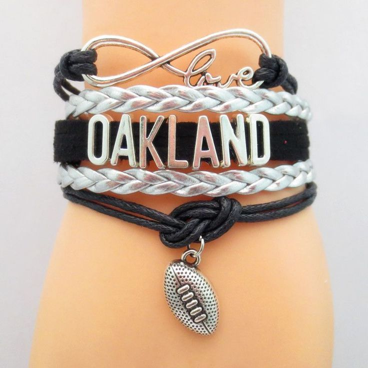 Infinity Love Oakland Football Bracelet BOGO