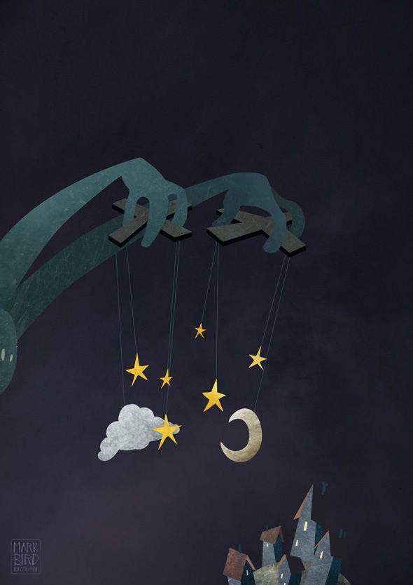 The Night Puppeteer Art Print by Mark Bird
