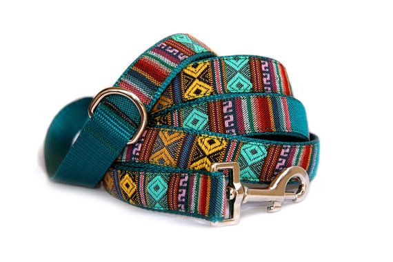 Small dog harness large dog harness & dog leash ( Dog collar $23 is available)  Southwestern emerald dog harness.Tribal & Aztec Navajo inspired pet