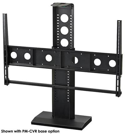 The PM-S-XL mount for single monitors integrates with our display carts to provide a solid, secure connection creating a portable roll-about video system. Designed for videoconferencing installations, this unit features a camera/codec shelf.