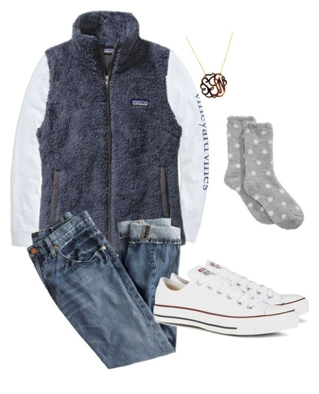 """""""Fuzzy socks"""" by sjkish on Polyvore featuring Vineyard Vines, Patagonia, BaubleBar, Charter Club, J.Crew and Converse"""