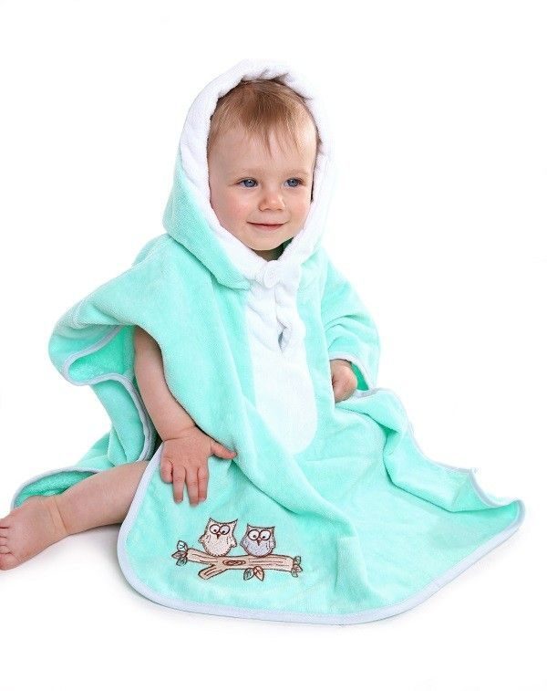 Hooded Bath Poncho Mint Owl