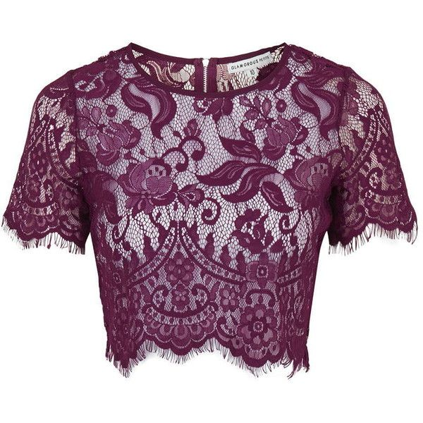TOPSHOP **Sheer Lace Crop by Glamorous ($35) ❤ liked on Polyvore featuring tops, burgandy, purple top, crop top, purple crop top, topshop tops and short sleeve tops