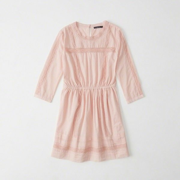 Abercrombie & Fitch Lace Pieced Pintuck Dress ($39) ❤ liked on Polyvore featuring dresses, light pink, tall dresses, petite lace dress, 3/4 sleeve dress, 3 4 sleeve lace dress and light pink dress