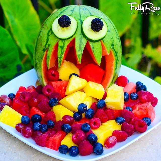 #FULLYRAW WATERMELON MONSTER!  He's kinda cute, don't you think?! ☺️