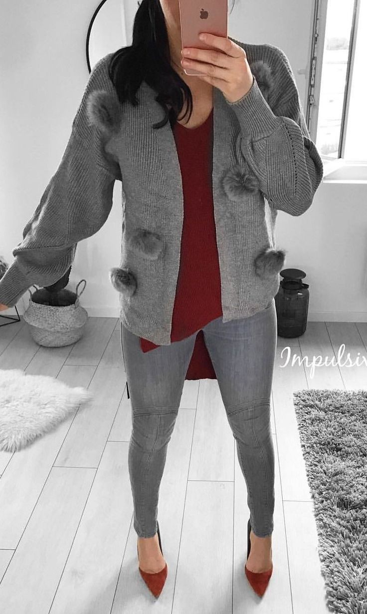 #fall #outfits women's gray cardigan and fitted jeans