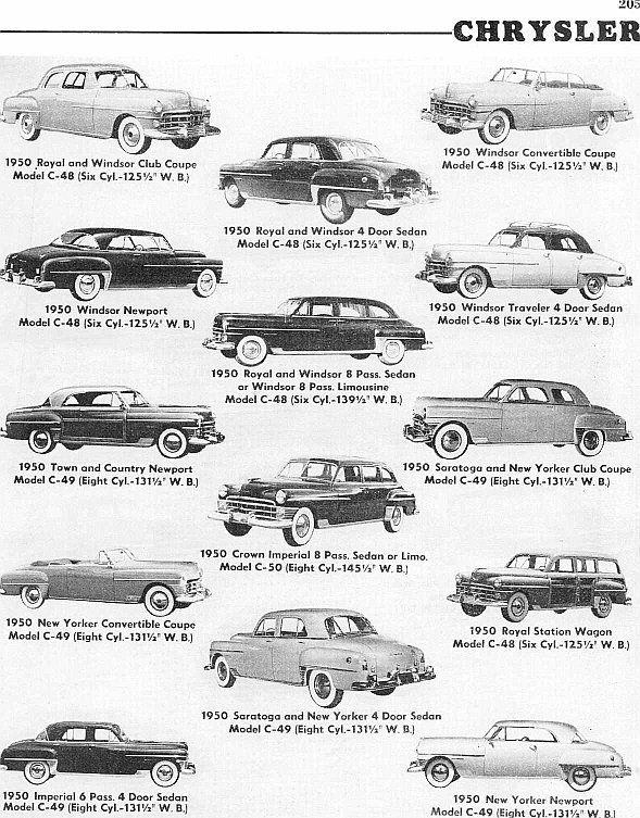 1950 Chrysler Models. Look at that Chrysler family :)