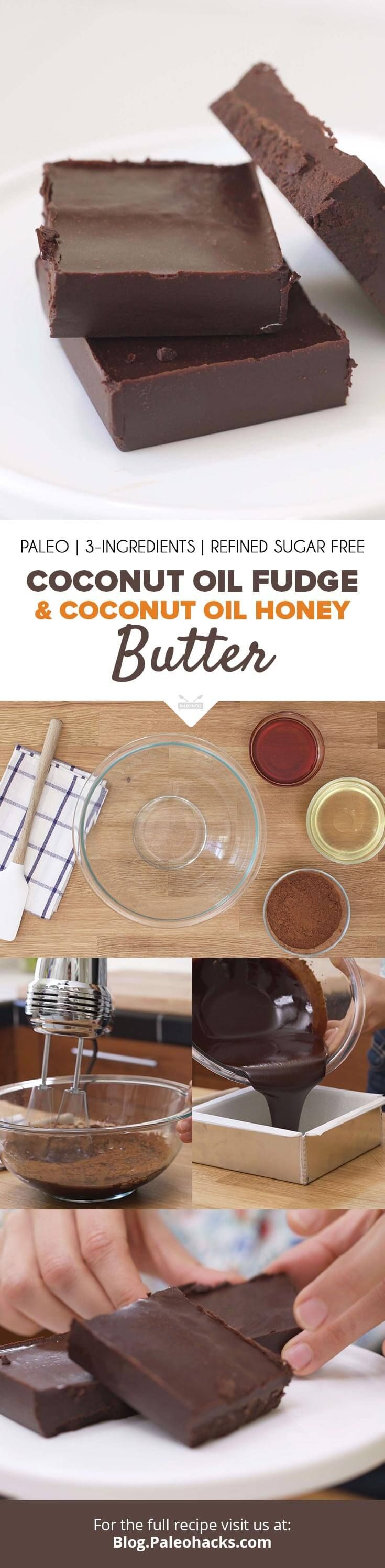 Looking for ways to add coconut oil to your diet? Fear no more!  We've got the ultimate two recipes to satisfy any sweet tooth cravings:  Coconut Oil Fudge and Coconut Oil Honey Butter. Get both recipes here: http://paleo.co/Cocooilfudge