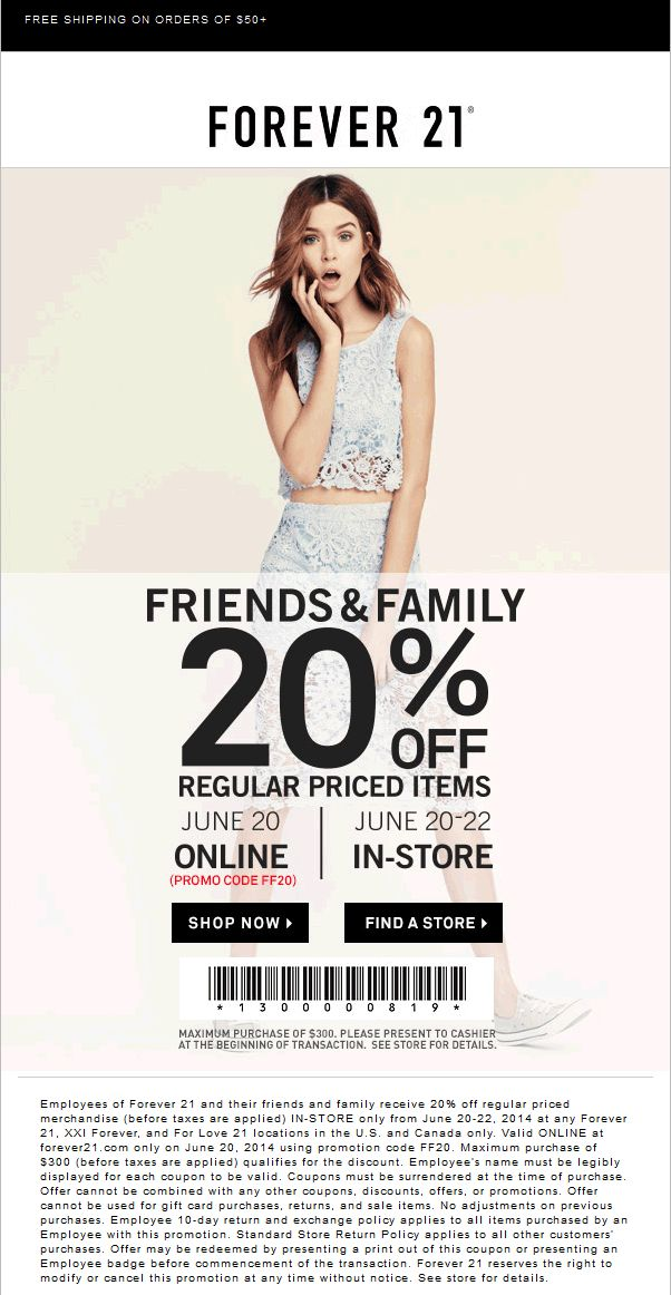 Forever 21 coupons 20 off